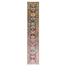 "Antique Persian Heriz, Serapi, Karaja Runner, 2'9"" x 17', c-1920's"