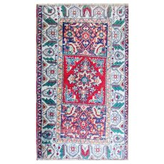"1'8"" x 2'7"" Antique Anatolian Yastik Bag Face Rug, c-1900"