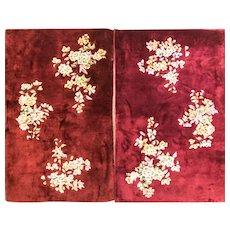 """3' x 4'10"""" Pair Of  Art Deco Rugs, c-1940"""