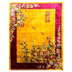 """Antique Art Deco Chinese Rug 9' x 11'8""""  signed c-1920's, #17135"""