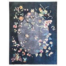 """Antique Art Deco Carpet, 8'5"""" x 11'2"""" Chinese Oriental Rug, #17136, c-1920"""