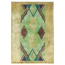 """Antique Art Deco Chinese Rug, 3'10"""" x 5'8"""" c-1900 #17142"""