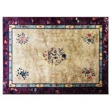 """Antique Art Deco Chinese Carpet, 6'2"""" x 8'6"""" #17145, c-1910"""