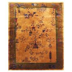 """Antique Art Deco Carpet, 8'10"""" x 11'4"""" Lemon Color, c-1920 #17146"""
