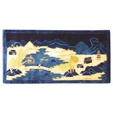"""Antique Art Deco/Peking Rug 2'7"""" x 5', scene design c-1910's #17159"""