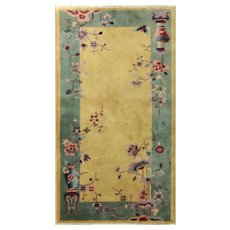 "Antique Art Deco Chinese Rug, 3' x 5'9"", Great Colors"