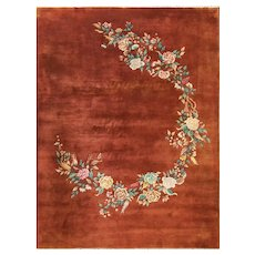 "Antique Art Deco Chinese Oriental Rug, 8'9"" x 11'9"" #17208"