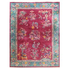 "Antique Art Deco Chinese Oriental Carpet, 8'8"" x 11'5"" #17213"