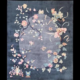 "Antique Art Deco Carpet ,Sea And Sky , 7'7"" x 9'5"" c-1930, #17215"