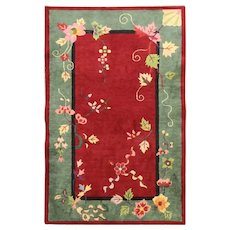 """Antique Art Deco Chinese Oriental Rug, The leaf's queen 3' x 4'8"""" #17219"""