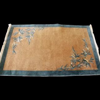 """Antique Art Deco Carpet ,Bamboo Tree , 3'1"""" x 5' c-1920, #17220"""