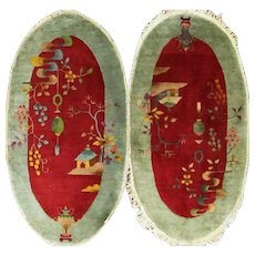 A pair Of Antique Art Deco Rugs , 2' x 4' c-1920, Oval #17216
