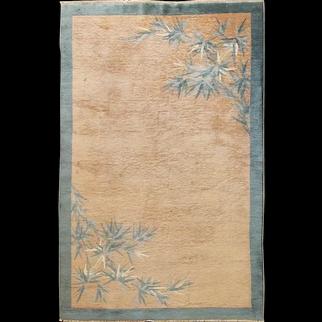 """Antique Art Deco Carpet,Bamboo Tree , 5'1"""" x 7'11"""" c-1920, #17222"""
