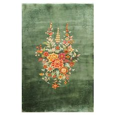 """Antique Art Deco Chinese Wedding Rug, 4' x 6'2"""" Green Color, c-1920 #17223"""