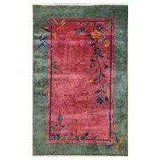 """Antique Art Deco Carpet,Best color , 4'2"""" x 6'9"""" c-1920, #17224"""