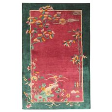 """Antique Art Deco Chinese Rug, The Paradise 3' x 4'10"""" #17229"""