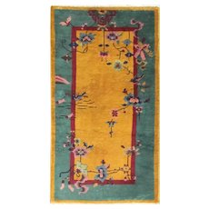 """Antique Art Deco Chinese Rug, The Sun And Sea 2'6"""" x 4'10"""" #17231"""