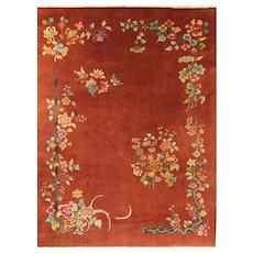 "Antique Art Deco Chinese Oriental Rug, 8'9"" x 11'8"" #17244"