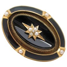 14kt Onyx, natural pearl, diamond, hair, mourning brooch
