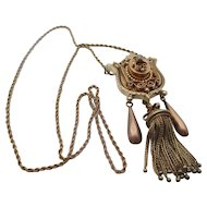 14kt Victorian tassel and diamond necklace