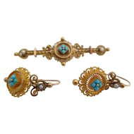 14kt  Victorian Persian turquoise and natural pearl earrings and pin set.