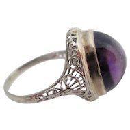 14kt wg Ladies deco cabochon  amethyst ring.
