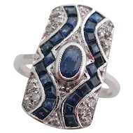 14kt wg Ladies Deco sapphire and diamond ring