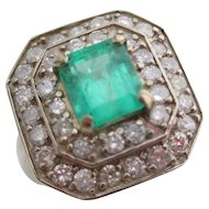 14kt Ladies Deco emerald and diamond cocktail ring.