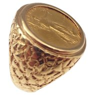 14kt Gentlemans 5 dollar liberty-gold ring