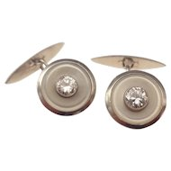 Gentlemans Art Deco platinum old-mine-cut  diamond cufflinks.