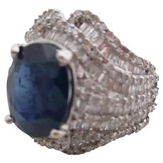 18kt Ladies sapphire and diamond ring.