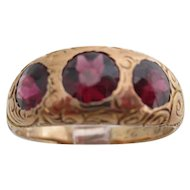 Gentlemans 14Kt rose gold Victorian garnet ring.