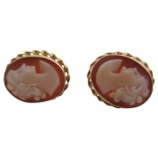 Ladies 14kt Victorian shell cameo earrings.