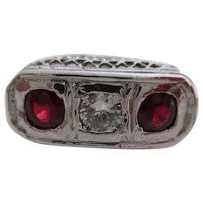 Ladies 14kt Art Deco ruby and diamond  filigree ring.