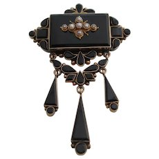 Ladies 14kt antique Victorian onyx and natural pearl mourning brooch.