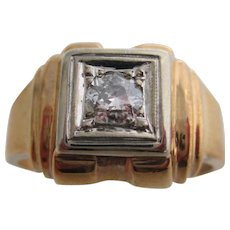 Gentlemans 10kt Victorian old-mine-cut diamond ring