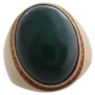 Gentlemans 14kt Vintage chalcedony ring