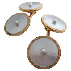 Gentleman's 14kt Victorian, mother-of-pearl and natural pearl cufflinks.