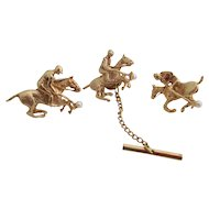 Gentlemens 14kt vintage polo pony tie-tack, and cufflink set.