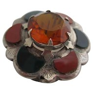 Unisex Victorian Scottish cairngorm and agate pin.