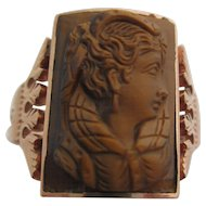 Gentlemens 14kt Victorian rose gold tiger eye cameo ring.