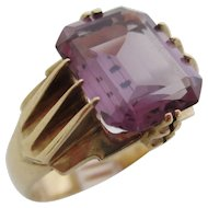 Gentlemans 14kt Art Deco amethyst ring
