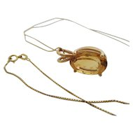 Ladies 14kt vintage citrine pendant