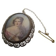 Ladies Victorian painted portrait mourning pin / pendant.