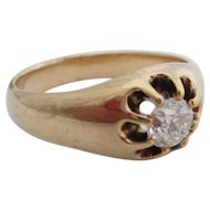 Gentlemans Edwardian 14kt belcher-set, old-mine-cut-diamond ring.
