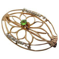 Ladies Victorian 14kt demantoid and natural seed pearl lace pin.