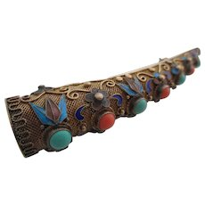 Ladies antique Chinese turquoise, coral, and enamel finger-tip extension brooch.
