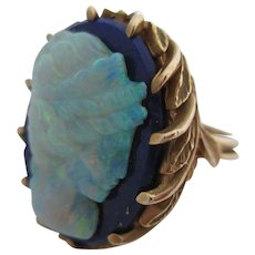Ladies Victorian 14kt carved opal cameo and lapis lazuli cocktail ring.