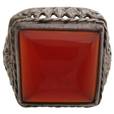 Ladies Victorian coin carnelian filagree ring.