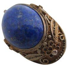 Ladies antique silver gilt lapis lazuli pin / brooch.
